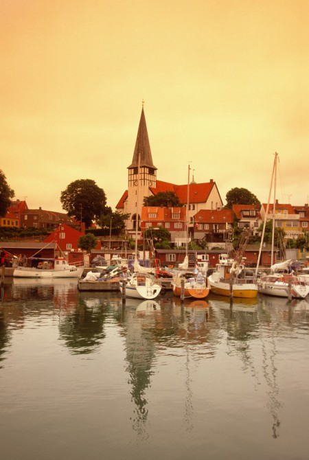 Church and port of Ronne, Denmark on sunny day