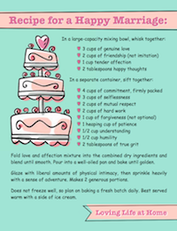 Recipe for a Happy Marriage | free printable from https://lovinglifeathome.com