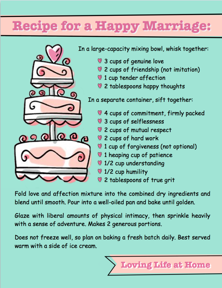 Recipe for a a Happy Marriage | free printable from Loving Life at Home
