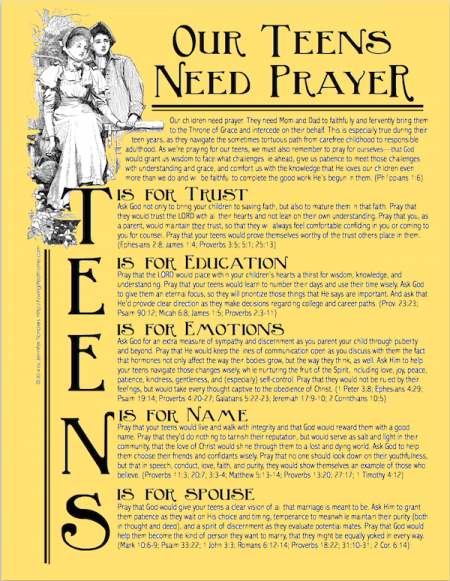 A free printable prayer guide for interceding for your teen | www.flandersfamily.info