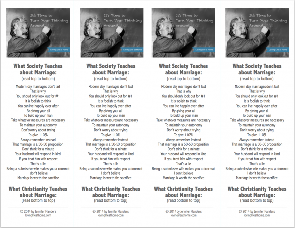 Free printable bookmarks on society and Christianity's conflicting views of marriage.